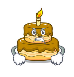 angry birthday cake mascot cartoon vector image