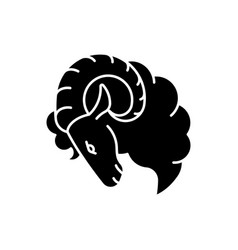 Aries zodiac sign black glyph icon vector