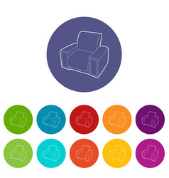 Armchair icons set color vector