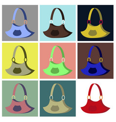 Assembly flat icons handbag vector