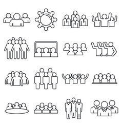 Audience customer icons set outline style vector