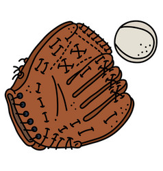Baseball glove and a ball vector