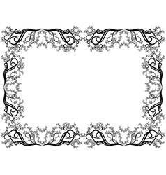 Black and white frame with floral elements vector