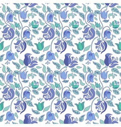 Blue and teal tulip and rose floral textile vector