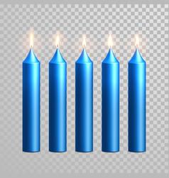burning blue candles decorative set vector image