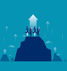 business growt business team standing on mountain vector image