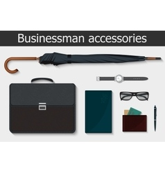 Businessman stuff and accessories icons set vector image
