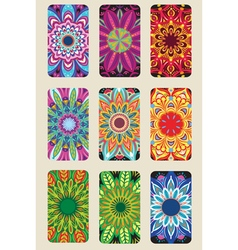 Cards collection with Round Ornament vector