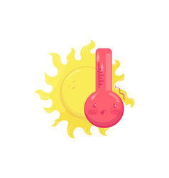Cartoon character of hot sweating thermometer vector