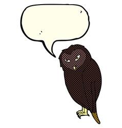 Cartoon owl with speech bubble vector