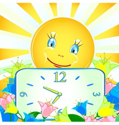Cheerful background with the sun and the clock vector