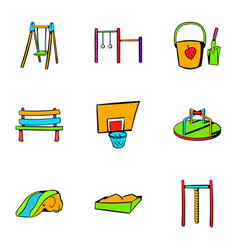 Children playground icons set cartoon style vector