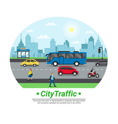 City street traffic flat circle vector