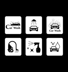 Clean icon car wash symbol set vector