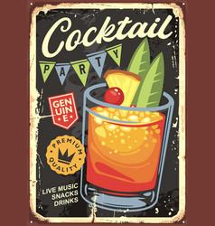 cocktail bar vintage sign design vector image