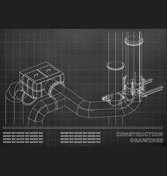 construction drawings 3d metal construction pipes vector image