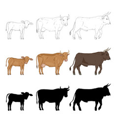 Cow bull and calf sketch cartoon and silhouette vector