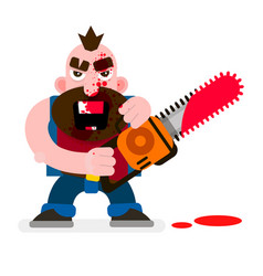 Crazy murderer covered in blood with a chainsaw vector