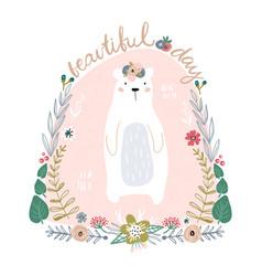 cute cartoon bear in floral wreath beautiful day vector image