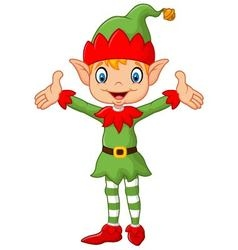 Cute green elf boy costume hands up vector image