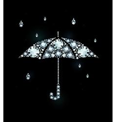 Diamond Umbrella and Rain Drops vector