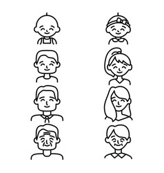 Different ages people sign black thin line icon vector