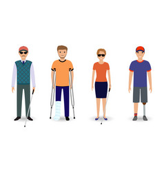 Disability people concept group of invalid men vector