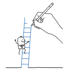 Drawing hand and cartoon businessman -going up vector