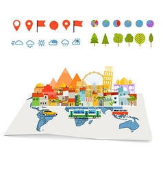 Earth maps map and different buildings and vector