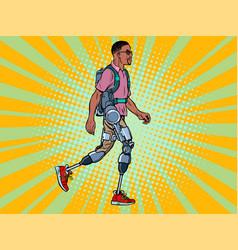 exoskeleton for disabled african man legless vector image