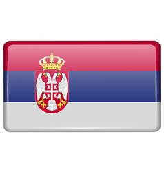 Flags Serbia in the form of a magnet on vector