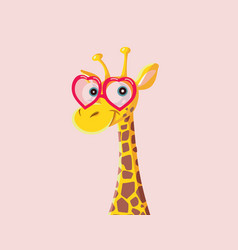 funny cartoon giraffe wearing heart shaped glasses vector image