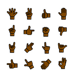 gestures icons set vector image