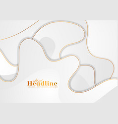 Grey white abstract wavy background with bronze vector