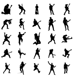 Guitarist silhouette set vector