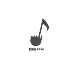 Hand music notes logo design template vector