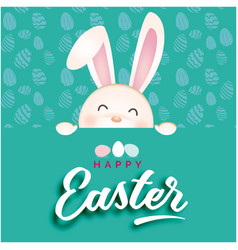 happy easter bunny green background image vector image