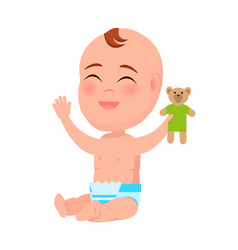 happy smiling infant with teddy toy in hand laugh vector image