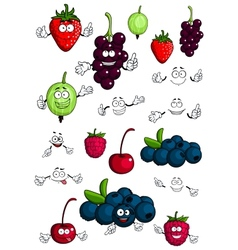 Healthy berries and fruits characters vector image