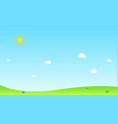 hill with sun and sky background vector image