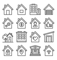 home icons set on white background line style vector image