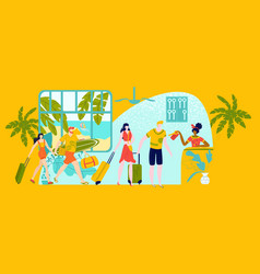 hotel reception for travellers people on vacation vector image