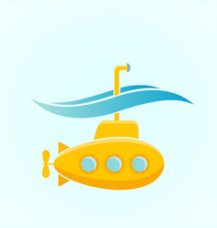 Icon yellow submarine with periscope underwater vector