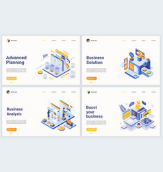 isometric business data analysis process vector image