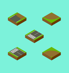 Isometric way set of unfinished sand turn vector