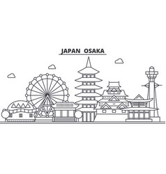 Japan osaka architecture line skyline vector