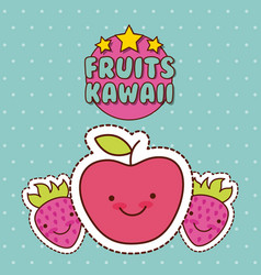kawaii food with background colorful image vector image