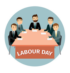 labour day poster with cartoon business vector image