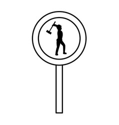 Line circle caution emblem and laborer with mallet vector