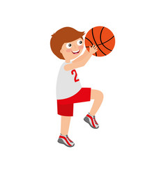 Little boy playing basketball vector